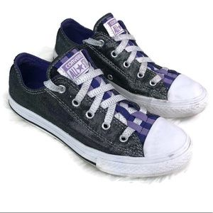 Converse All Star sparkly black and purple size 2